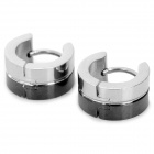 SHIYING G4C7B28DC50047 Fashionable 316L Stainless Steel Men's Earrings - Black + Silver (Pair)
