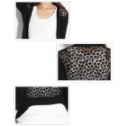 Fashion All-match Women's Black Knitted Sweater with Floral Gauze - Back (Size M)