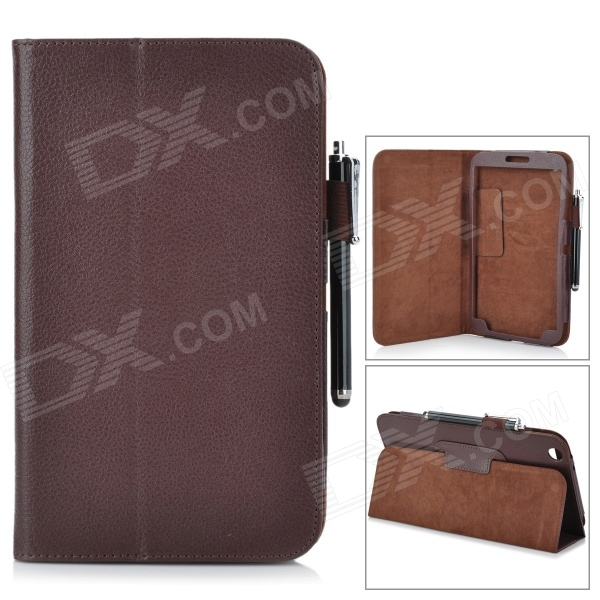 Protective PU Leather Case w/ Stylus Pen for Samsung Galaxy Tab 3 8.0 T310 / T311 - Brown