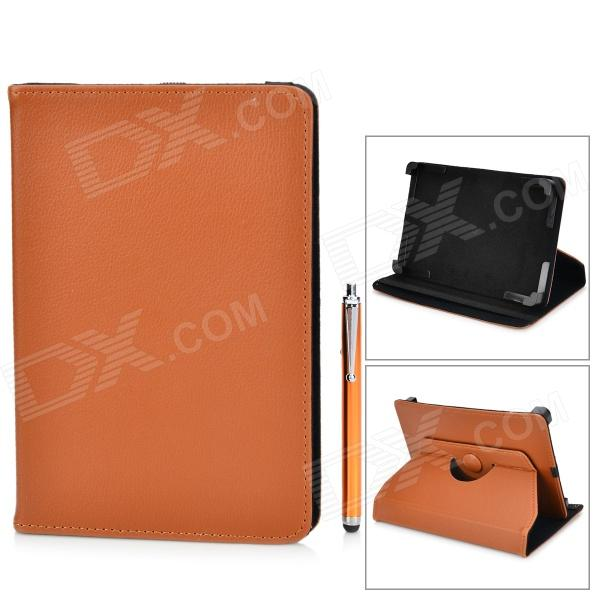 360 Degree Rotatable PU Leather Case w/ Stylus for Samsung Galaxy Tab T210 + More - Brown