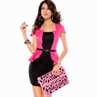 Paragraph Short-Sleeve Ol Fashion Sexy Women's One-Piece Dress - Pink