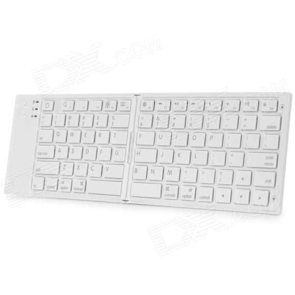 L-B Bluetooth V3.0 80-Key Foldable Wireless Keyboard for IPHONE / IPAD - White