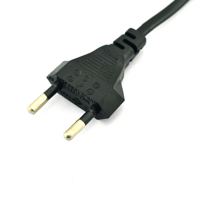 European/EU Type Power Adapter Cord/Cable for Laptop - Black (130cm)