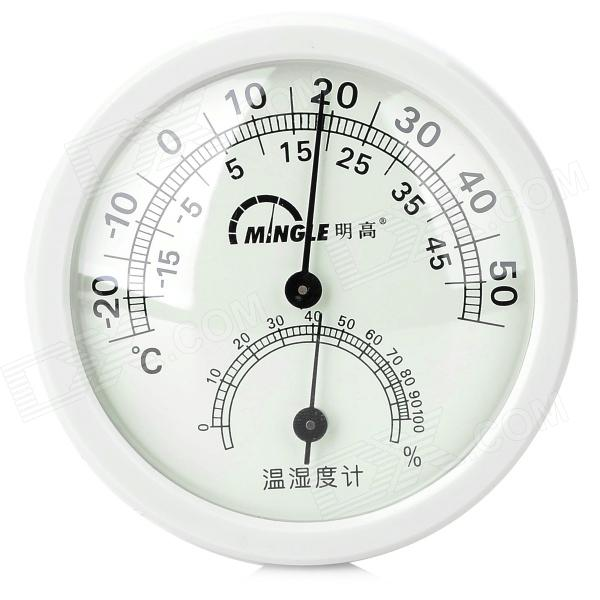 "MingGao TH108 2.5"" Indoor / Outdoor Thermometer Humidity Meter - White + Black"