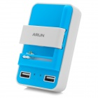 ARUN W200 3-in-1 Smart Dual USB Universal Charger - White + Blue (US Plugs)