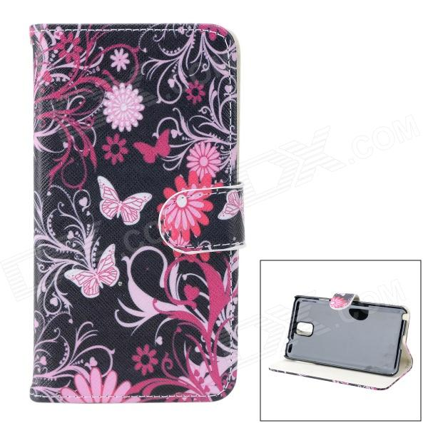 Butterfly + Flower Pattern Protective PU Leather Case Cover for Samsung Galaxy Note 3 N9000 - Black