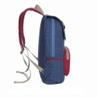New Style Monsieur Fashionable Preppy Style Canvas Backpack - Blue + Deep Pink