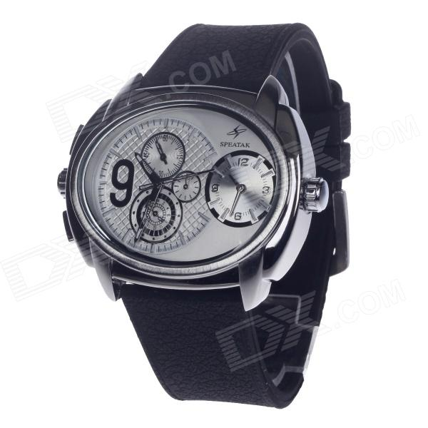SPEATAK SP9045G Stylish Dual Time Zone Display Men's Quartz Wristwatch - Black + Silver (1 x LR626)