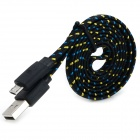 Micro USB Braided Charging Data Cable for Phones - Black (95cm)