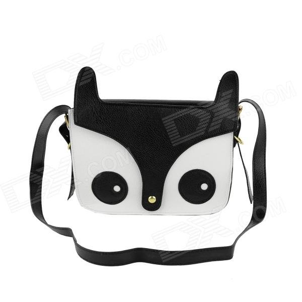 Fashionable Owl Style Women's PU Leather Shoulder Bag - Black + White