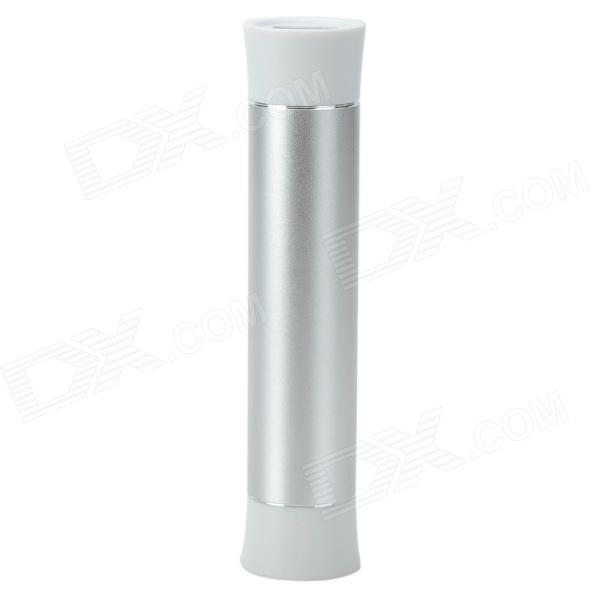 "26AB Cylinder Shaped ""2600mAh"" Mobile Power Bank for IPHONE / IPAD / IPOD + More - Silver"