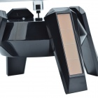 Solar Power 360 Degree Rotatable Display Stand Tray w/ LED Light - Black + Transparent