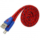 Woven Nylon Micro USB Male to USB 2.0 Male Data Sync / Charging Cable - Red + Blue (100cm)