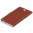 KPT-12 Lichee Pattern Protective PU Leather Case Cover Stand for Samsung Galaxy Note 3 - Brown
