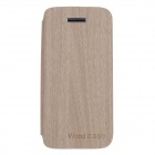 Fashionable Flip-Open Protective PU Leather Case Cover for IPHONE 5 / 5S - Wood + Orange