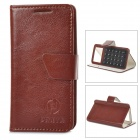 "Universal Suction Cup PU Leather Case Cover Stand for 3.5""~4.0"" Cellphone - Brown + Reddish Brown"