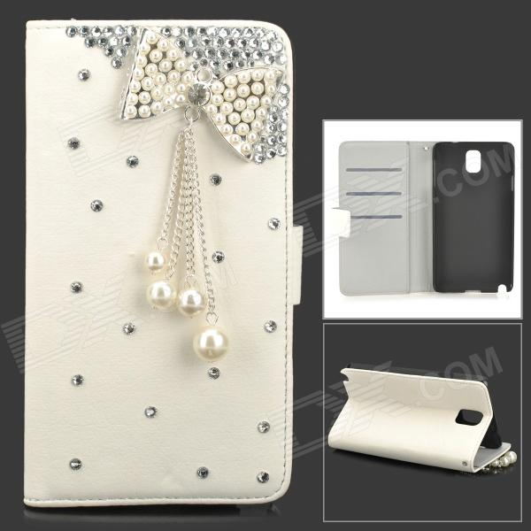 Elegant Tassels Bowknot Style Protective PU Leather Case for Samsung Galaxy Note 3 N9000 - White