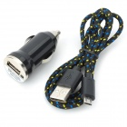 Car Charger + Micro USB Cable for Samsung Galaxy S4 + More - Black