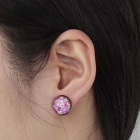 Lovely Heart Pattern Ancient Palace Bronze Ear Studs - Purple + Red (Pair)