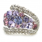 RG-7221 Fashionable Zinc Alloy Diamond Finger Ring for Women - Lavender + Silver