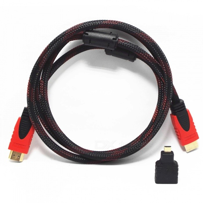 1080P HDMI v1.4 Male to Male Connecting Cable w/ Micro HDMI Adapter