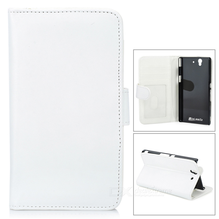 Protective Lambskin Case w/ Card Holder Slots for Sony L36h / Xperia Z / C6603 - White