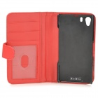 Protective Lambskin Case w/ Card Holder Slots for Sony Xperia Z1 / Xperia i1 L39h - Red