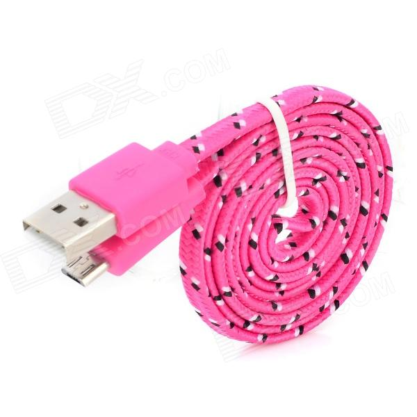 USB Male to Micro USB Female Nylon Woven Flat Data Charging Cable for Sony / HTC - Deep Pink