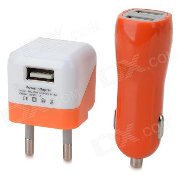Dual USB Car Charger + EU Plug Power Adapter + Micro USB Cable for Samsung - Orange + Black