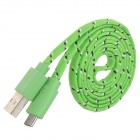 USB to Micro USB Nylon Data Charging Cable for Phones - Green (90cm)
