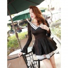 Organza Satin Long-sleeved Dress - Black + White (Size L)