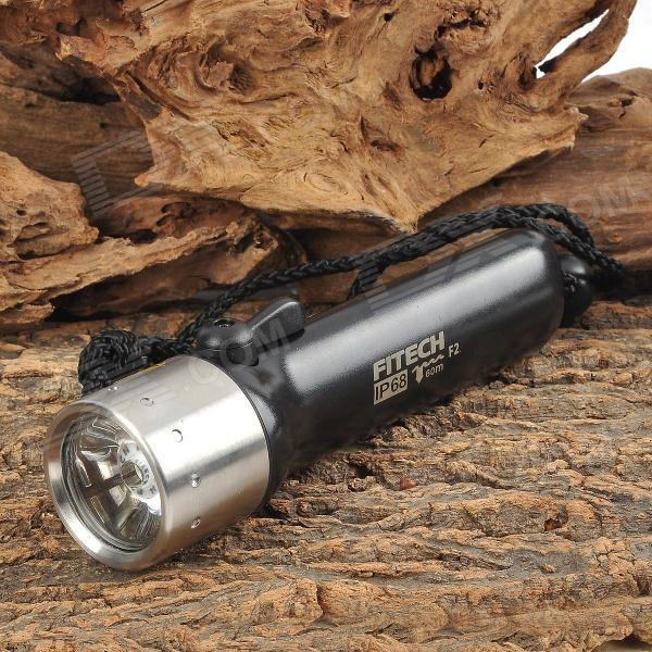 FITECH F2 160lm Warm White Light 1-Mode 160lm LED Diving Flashlight w/ Strap - Black (4.8~6V)