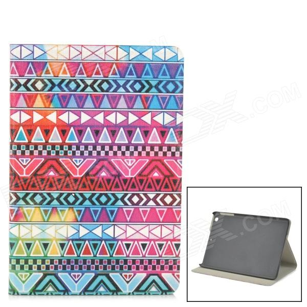 Stylish Protective PU Leather Case w/ Auto Sleep for IPAD MINI - Deep Pink + Blue + White