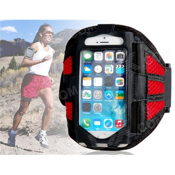 Protective Mesh Sports Armband for IPHONE 5 / 5S - Red + Black