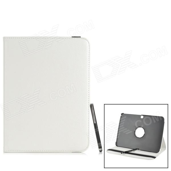 Protective PU Leather Case w/ Stylus Pen for Samsung Galaxy Tab 3 10.1 P5200 / P5210 - WhiteTablet Cases<br>Form  ColorWhiteBrandN/AQuantity1 DX.PCM.Model.AttributeModel.UnitMaterialPU leatherCompatible BrandSamsungCompatible Size10.1 inchStyleBusinessCompatible ModelSamsung Galaxy Tab 3 10.1 P5200 / P5210TypeLeather CasesOther FeaturesCan be rotated 360 degrees; Protects your device from scratches, dust and shock; Comes with aluminum alloy stylus penPacking List1 x Protective case1 x Stylus pen<br>