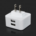 T-16 Dual USB Smart 100~240V US Plugs Power Adapter - White