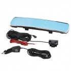 "4.3"" 3.0MP 720P 140 Degree Wide Angle Car Rearview DVR w/ 4-LED + Voice Broadcast - Black + Silver"