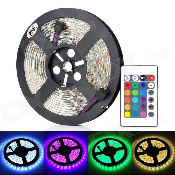 JRLED 60W 4500lm 300-SMD 5050 LED RGB Soft Light Strip w/ 24-Key Remote Controller (100-~240V / 5m)5050 SMD Strips<br>Form  ColorBlack + White + Multi-ColoredColor BINRGBBrandJRLEDMaterialPlastic + siliconeQuantity1 DX.PCM.Model.AttributeModel.UnitPowerOthers,60WRated VoltageAC 100-240 DX.PCM.Model.AttributeModel.UnitChip BrandHugaEmitter Type5050 SMD LEDTotal Emitters300WavelengthR: 635nm, G: 530nm, B: 470nmTheoretical Lumens4500 DX.PCM.Model.AttributeModel.UnitActual Lumens4500 DX.PCM.Model.AttributeModel.UnitPower AdapterEU PlugPacking List1 x Light strip 1 x Remote controller (Built-in 1 x CR2025)1 x Controller 1 x 5A power supply (90cm-cable)1 x Power cable (120cm)<br>