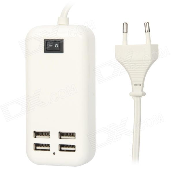 15W 4-Port USB Desktop Charger w/ Switch - White (150cm-Cable / 2-Pin Round Plug / AC 100~240V)