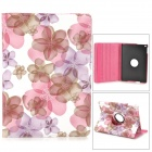 KWEN HDW-1 Flowers Pattern PU Case w/ Stand for IPAD AIR - Pink + Purple