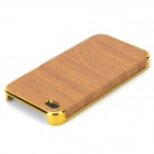 Wood-260 Wood Grain Style Protective PU Leather + PC Case for IPHONE 4 / 4S - Brown + Golden