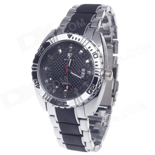 BADACE 2092 Men's Stainless Steel Band Quartz Analog Wrist Watch w/ Date Display - Black + Silver