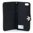 PUDINI WB-14015G Protective Crystal Dragonfly Style PU Leather Case for IPHONE 5 - Black