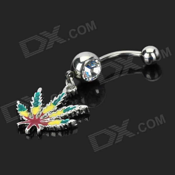 UBE UTY 7031 Marijuana Leaf Style Fashionable Zinc Alloy + Rhinestone Navel Ring - Silver
