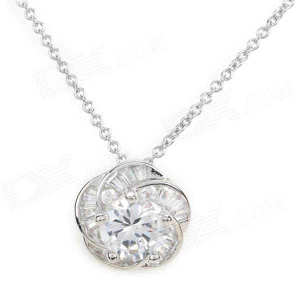 CDPJ XL-192 AAA Grade Zircon Flowers Clavicle Necklace for Women - Silver