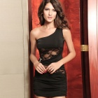 LC2565-2 Sexy One-shoulder Mini Dress with Lace Insert - Black (Free Size)