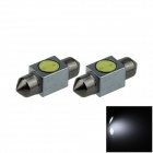 Festoon 31mm 1W 80lm 1-COB LED White Light Car Reading / Roof / Dome / Door Lamp - (12V / 2 PCS)