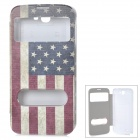 ENKAY US Flag Pattern Protective PU Leather + Plastic Case w/ Auto-Sleep for Samsung N7100 - Red