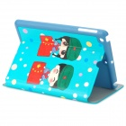 KAKUSIGA Cute Chinese Soldier Couple Pattern PU Smart Case w/ Stand for IPAD MINI - Red + Green