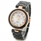 BARIHO F401 Woman's Stylish Analog Quartz Wrist Watch w/ Crystal Dial - Black + Golden (1 x 626)